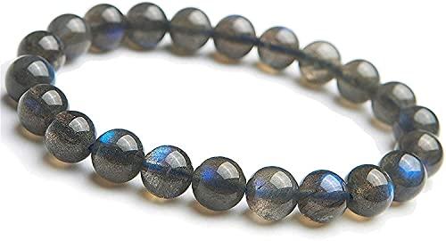 YANSJD Pulsera elástica con Cuentas de Piedra Natural Xuyang, joyería para Mujeres y Hombres, Pulsera elástica con Cuentas de Cristal con Gemas de luz arcoíris a la Moda