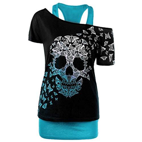 Camiseta de manga corta para mujer, con estampado de calavera, tallas grandes,...