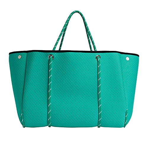 VANYLU Bolso Mujer Shopper Classic de Neopreno. Bolso Tote Grande de Tela Impermeable para Uso Casual. Tote Bag Clásico de Cuerdas con Cierre Magnético. (Verde Agua)