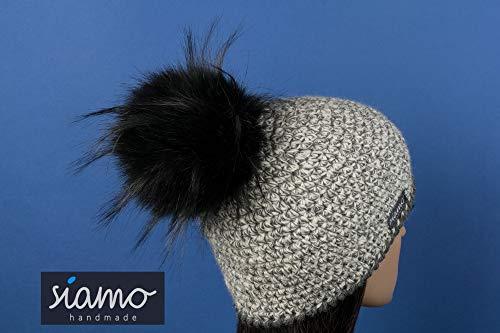Luxus-Mütze LIMA 100% Baby-Alpaka natur-hell-dunkelgrau-meliert