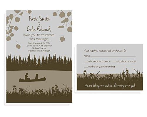 Lakeside Canoe Wedding Invitation Sets