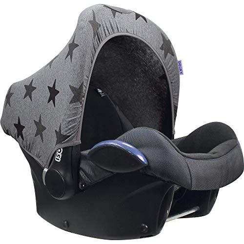 Original Dooky Hoody Sonnenschutz Sonnenverdeck für Babyschalen oder Kinderwagen (Design: Grey Stars, inkl. UV-Schutz 40+, Altersgruppe 0+, Universal geeignet für die meisten Marken)