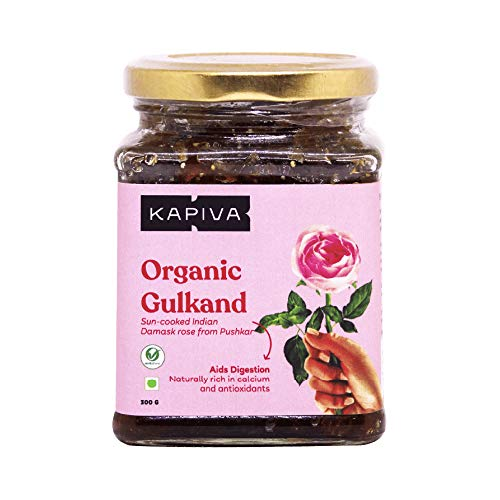 Kapiva Organic Gulkand - Made from Sun Cooked Damask Rose - Natural, Rich in Calcium and Antioxidants - Helps in Digestion - 300g