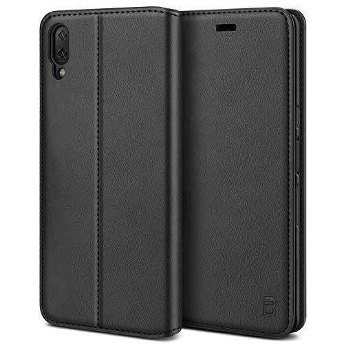 BEZ Handyhülle für Xperia L3 Hülle, Premium Tasche Kompatibel für Sony Xperia L3, Tasche Hülle Schutzhüllen aus Klappetui mit Kreditkartenhaltern, Ständer, Magnetverschluss, Schwarz