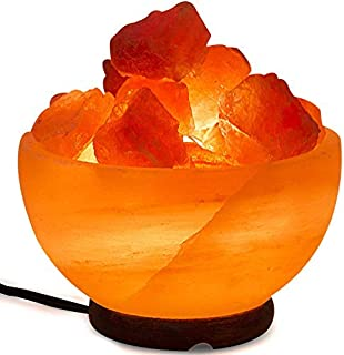 Himalayan Salt Lamp Bowl with Natural Crystal Chunks, Dimmer Cord and Classic Wood Base Premium Quality Authentic from Pakistan