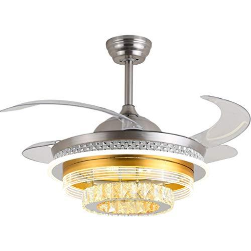 Ventiladores para el techo con lámpara Fan de 42 pulgadas de cristal retráctil de techo con luces y remoto, Hidden Fandelier Ventilador de techo Araña 3-Color de luz Ventilador Ventilador techo con lu