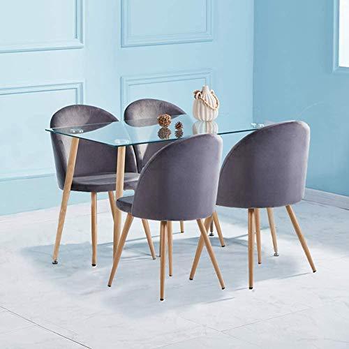 GOLDFAN Esstisch mit 4 Stühlen Rechteckiger Esstisch Glas Moderner Küchentisch mit Metallbeine Esszimmerstuhl aus Samt Küchenstuhl, Grau