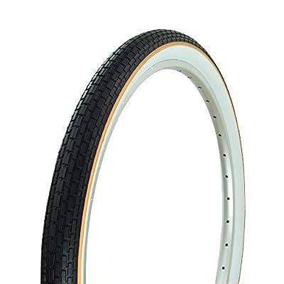 """Fenix 26"""" x 2.125"""" Brick White Wall TIRE W/Yellow Line, for Beach Cruiser, BMX, Mountain Bikes Bicycles"""