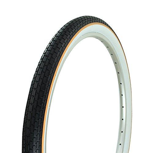 Fenix 26' x 2.125' Brick White Wall TIRE W/Yellow Line, for Beach Cruiser, BMX, Mountain Bikes Bicycles
