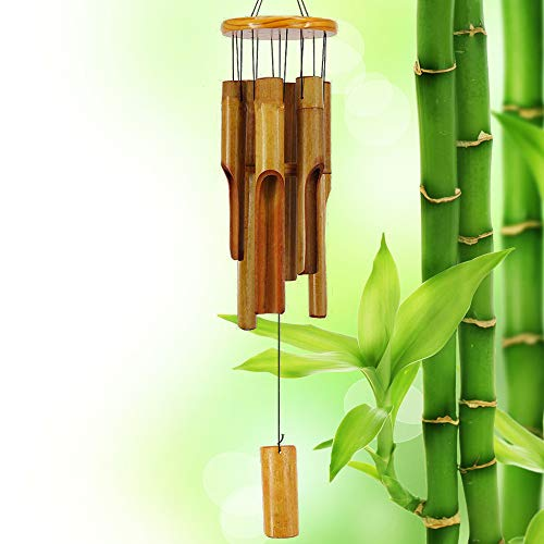 Afirst Wooden Wind Chimes Outdoor, Bamboo Wind Chimes with Amazing Deep Tone for Patio Garden Home Décor, Natural Beautiful Sound