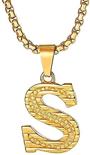 ZJJLWL Co.,ltd Collar Collar Colgante Inicial Collar Color Acero Inoxidable Letras del Alfabeto Collar para Mujeres Hombres Joyería Colgante Collar Niñas Niños Regalo