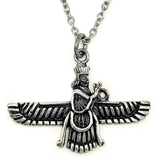 Asoodehdelan Small Sterling Silver Persian Farvahar Faravahar Necklace