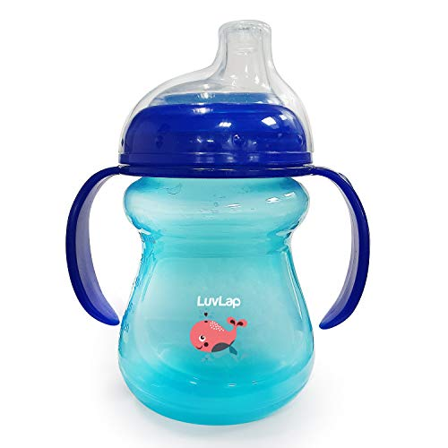 LuvLap Moby Little Sipper/ Sippy Cup 240ml, Anti-Spill Design with Soft Silicone Spout, 6m+ (Blue)