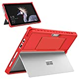 MoKo Hülle für Microsoft Surface Pro 7 / Pro 6 / Pro 2017 / Pro 5/4/LTE, All-In-One Schutzhülle mit Stifthalter und Handschband und Kompatibel mit Typ Cover Tastatur Ideal für Surface Pro 6/5/LTE - Rot