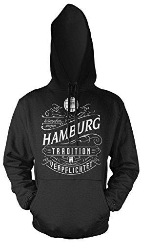 Mein Leben Hamburg Männer und Herren Kapuzenpullover | Fussball Ultras Geschenk | M1 Front (Schwarz, XXXL)