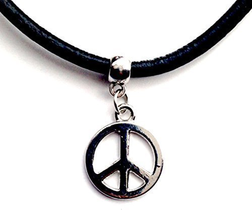 Live It Style It Peace Leather Choker Charm Necklace Vintage Hippy Retro Black Cord