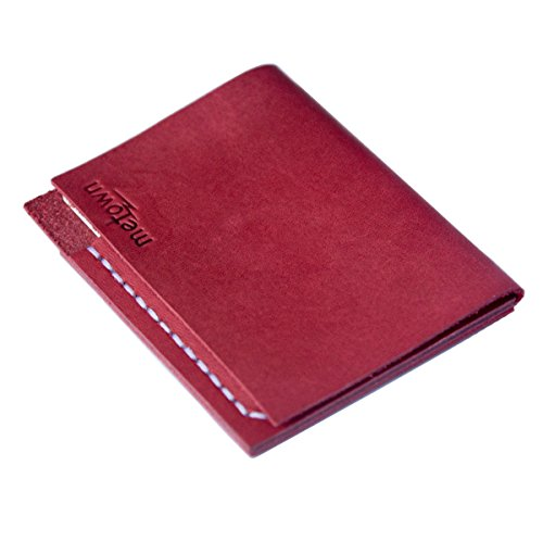 metown SIMPLE Slim Wallet Handmade Genuine Leather Mini Card Holder Commuter pass cases Holder several bills Post-it Note, Men, Woman, Unisex Husband Wife Gift (claret)