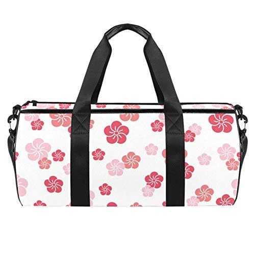 Bolsa de viaje cilíndrica de viaje con bolsillo mojado, ligera, con diseño de flores de cerezo japonés, color rosa, con correa para el hombro, para hombres y mujeres