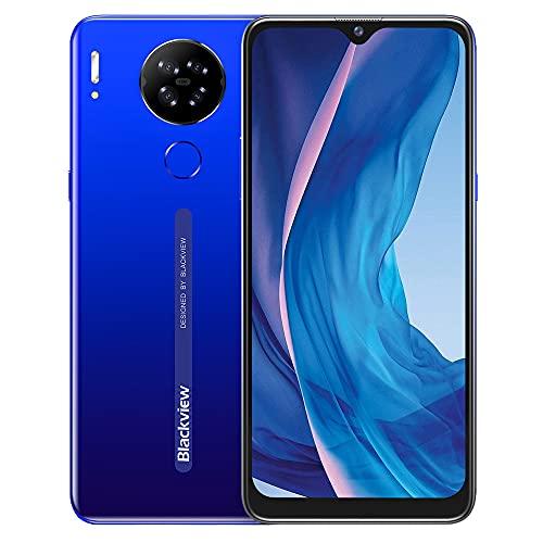 Blackview A80S - Smartphone libre (procesador Octa-Core, 4 GB de RAM + 64 GB, pantalla HD+ de 6,21 pulgadas, cámara Quad de 13 MP, batería grande de 4200 mAh, Android 10 Dual SIM 4G, color azul)