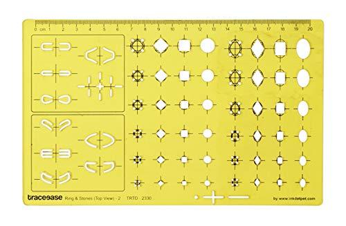 Traceease Vista Superior,2 Anillos Y Piedras Preciosas Plantillas De Joyería Herramientas De Elaboración De Joyas Plantillas De Diseño