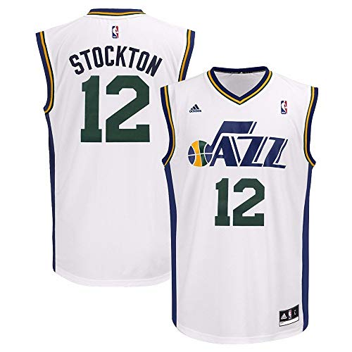 adidas John Stockton Utah Jazz NBA Men's White Replica Jersey (2XL)
