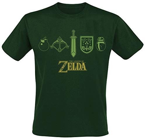 The Legend of Zelda Quest Essentials Hombre Camiseta Verde S, 100% algodón, Regular