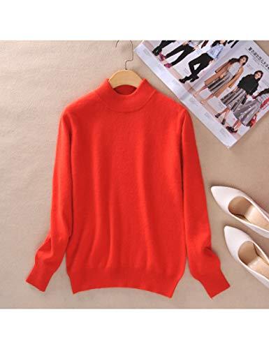 DHRGFWG Cashmere gebreide trui voor dames, herfst en winter, rolkraagpullover, vrouwelijke lange mouwen, effen