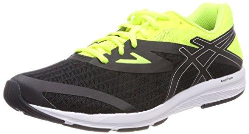 Asics Amplica, Zapatillas de Running para Hombre, Negro (Black/Silver/Safety Yellow 9093), 45 EU