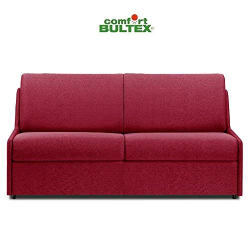 Canapé Convertible rapido COMPACTO Matelas 140cm Comfort BULTEX® Tissu Neo Rouge