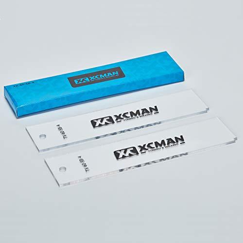 XCMAN Freeride Ski- und Snowboard-Basis-Wachsschaber aus Kunststoff, 4 mm dick (transparent) – Eckkerbe für Kantenreinigung und 2 Stück