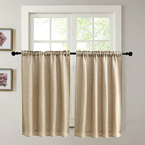 Kitchen Curtains for Dining Room Burlap Linen Tier Curtain Window Treatment Drapes for Living Room Set of 2 Each 29 x 36 inch Rod Pocket Coffee