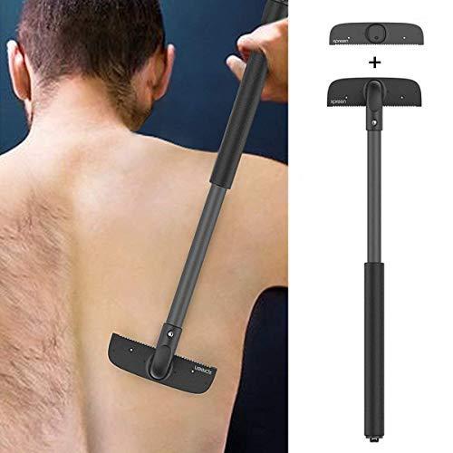 Scheerapparaat voor heren, scheerapparaat, rugscheerapparaat, verstelbare rugharenverwijderaar met 2 messen voor mannen, ergonomisch, hoogwaardig pijnvrij scheren onder nat of droog