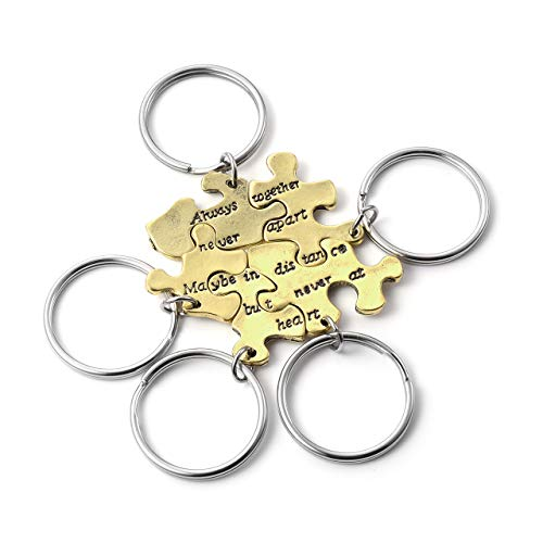 """Top Plaza 5 Pcs BFF Best Friend Friendship Family Keychains Matching Puzzle Keyring Set -""""Always together never apart Maybe in distance but never at heart"""""""