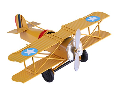 Berry President Vintage Retro Wrought Metal Iron Biplane Plane Aircraft Handicraft Models - Photo Props Home Decor/Ornament/Souvenir (Yellow)