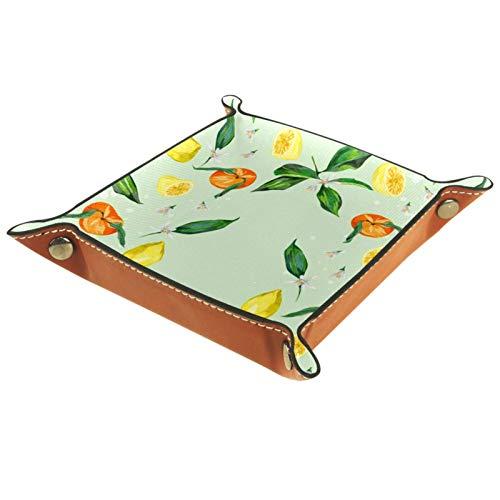 Bandeja de cuero sintético para guardar joyas, caja de dados, bandeja para mesita de noche, llavero, cambio de moneda, reloj y soporte para caramelos, bandeja de entrada, flor de naranja