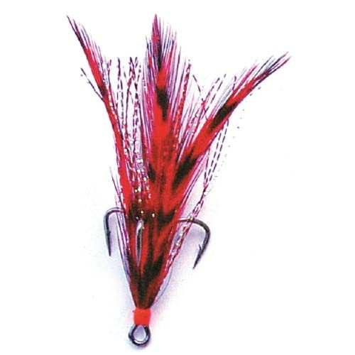 3 Pack Mustad Saltwater Replacement Treble Hooks White With Red Feather Size 2