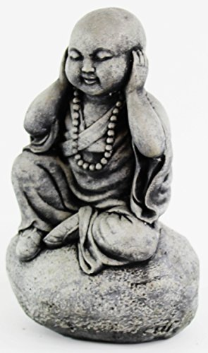 Hear No Evil Monk Wise Statues Concrete Buddha Sculpture