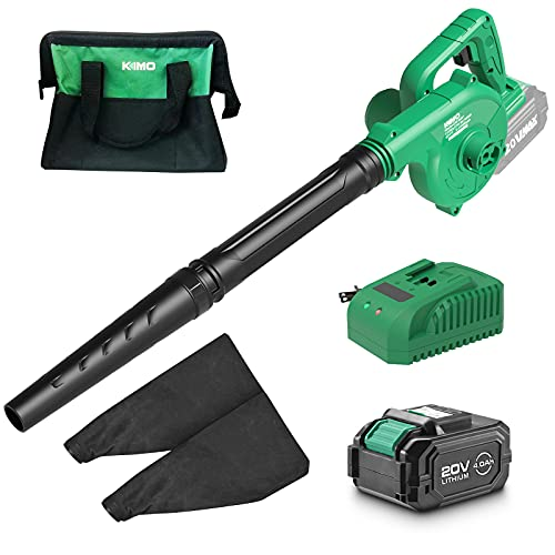 Product Image of the K I M O. Cordless Leaf Blower – 20V 4.0 Ah Lithium Battery Powered Lightweight, Compact 2 in 1 Sweeper & Vacuum for Clearing Dust, Leaf & Snow, Car Vacuum, Patio/Deck/Garden Cleaning, Garage Dusting