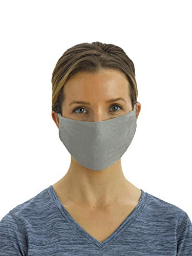 No Nonsense unisex adult Antimicrobial Reusable Ear Loop Face Mask (Pack of 5) Handkerchief, Black/Black/Navy/Navy/Grey, US