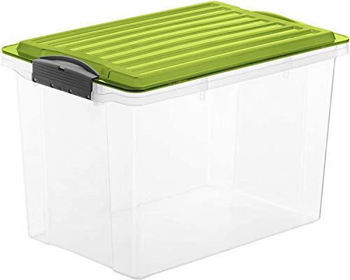 Rotho Compact Aufbewahrungsbox 19l mit Deckel, Kunststoff (PP) BPA-frei, grün/transparent, A4/19l (39,5 x 27,5 x 27,0 cm)