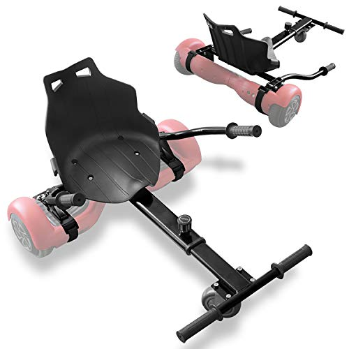 TPS Universal Hoverboard Seat Attachment hover board Go Kart with Adjustable Frame Length Compatible with Most Hoverboard Self Balancing Scooters for Kids and Adults (Black)