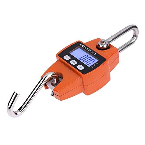 Yuzha mini-kraan weegschaal, draagbaar, LCD, digitaal, roestvrij staal, haak om op te hangen, gewicht weegschaal, kraanweegschaal Oranje