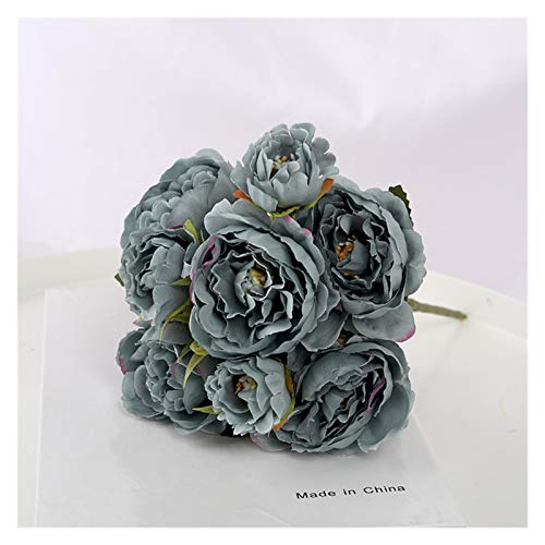 XIAOZSM Flores Artificiales 5 Cabeza Flores Artificiales Vintage Europeo Bonita Novia Boda (Color : Blue Grey)
