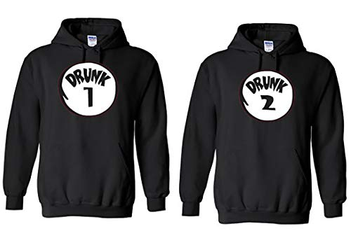 Drunk 1 and Drunk 2 Best Friends BFF Or Husband Wife Hoodies Funny Hoodie Set (His Small and Her Large) Black