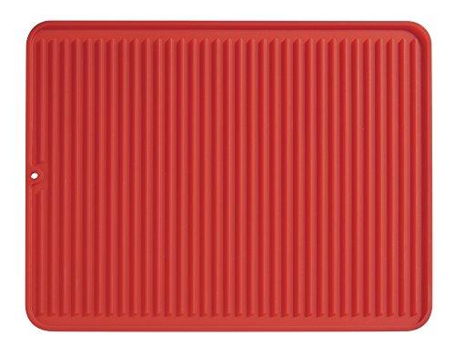 iDesign Secaplatos para fregadero, alfombrilla escurreplatos de silicona para fregadero de tamaño grande, escurridor de platos y vasos, rojo