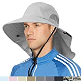 Wide Brim Sun Hat with Neck Flap, Sun Protection Hat for Men for...