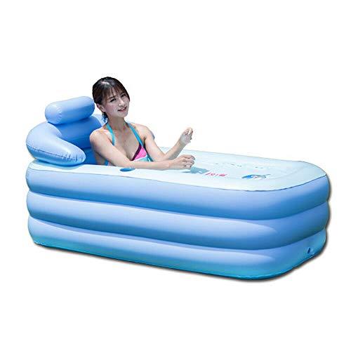 DIFU Aufblasbare Badewanne Erwachsene Pool Balkon aus PVC Faltbare Tragbare für SPA Dampfbad Sauna, Blau
