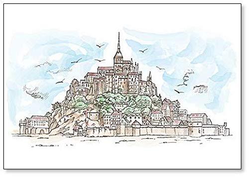 Le Mont Saint Michel, Francia. Imán para nevera con dibujo de acuarela