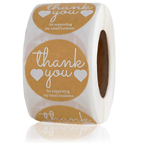 Stay Noted Round Kraft Thank You Stickers – Thank You for Supporting My Small Business Stickers – 500pcs X 1.5inch Diameter Labels – Thank You for Your Purchase Stickers