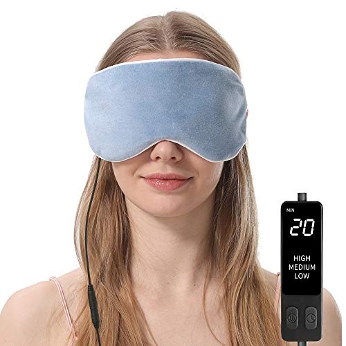 Heated Eye Mask, Steam Treatment for Dry Eyes, Warm Compress Moist Heat for Blepharitis, Dark Circle, Chalazion, Puffy Eyes, Stye Treatment (Blue)